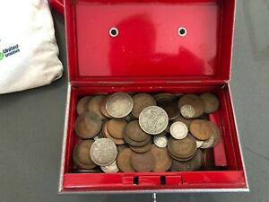 Old coins in a vintage tin box Job Lot - Some silver- about 2kg inc tin.