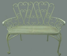 A Garden Bench from Iron IN Rustic White 260.053