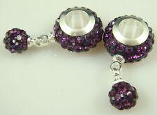 2014 Gorgeous Czech Crystals Dangle Bead fit European Charm Bracelet Earrings #8