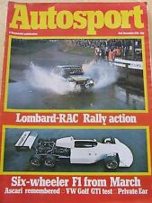 AUTOSPORT MAGAZINE 2 DEC 1976 LOMBARD-RAC RALLY SIX WHEELER F1 FROM MARCH