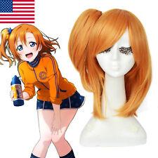 LoveLive Honoka Kousaka Cosplay Wig Orange Straight Ponytail Hair Wig+Bowknot