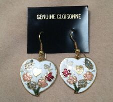 Cloisonne Multi Color White and Gold-tone  Heart Pierced Floral Earrings 1x1 in