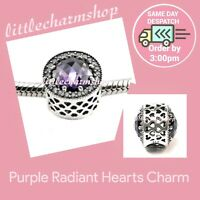 New Authentic Genuine PANDORA Purple Radiant Hearts Charm - 791725NRP RETIRED