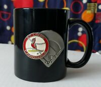 MLB St Louis Cardinals Black Coffee Mug with Pewter and 3D Logo