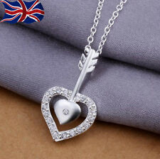 925 Sterling Silver Heart Necklace Crystal Cupids Arrow Love Valentine UK