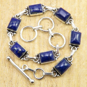 """925 Silver Plated Real Lapis Lazuli Bracelet 7.9"""" ! Discount Jewelry BRAND NEW"""