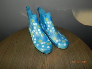 L.L. BEAN POLKA DOT Rubber RAIN BOOTS Size 8 low blue lime white