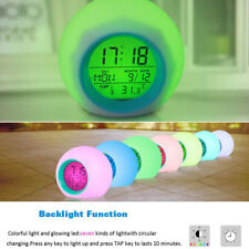 Color Changing LED Round Light Gradient Alarm Clock Child Kid Bedroom Home Gift