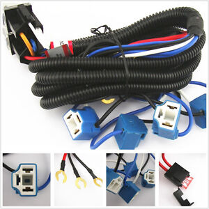 Ceramic H4 Headlight Relay Wiring Harness 4 Headlamp Light Bulbs Socket Plug Set
