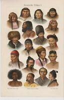 ca 1890 ASIA PEOPLE CHINA KOREA RUSSIA COSSACK CHUKCHI TATAR KALMYK KIRGIZ INDIA