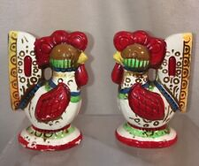 Vtg LEGO Japan Pottery Rooster Chicken Colorful Hippie Retro Salt & Pepper Set