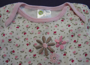 Baby's First Pink Burgundy Flower Hearts Easter & or Mother's Day One Piece 3-6
