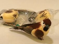 "3  ARTIFICIAL BIRDS FOR CRAFTS WREATHS FLORAL 4"" LONG"
