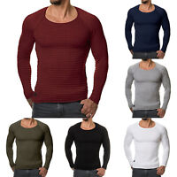 Men's Knitted Long Sleeve Casual Sweater Slim Muscle Crew Neck Jumper Pullover