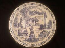 "Vernon Kilns Historical Shrines Of Virginia Commemorative Blue Plate 10.5"""