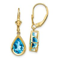 14k Yellow Gold 10x7mm Pear Blue Topaz Leverback Earrings 4.5 ct