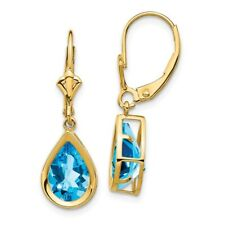 14k Yellow Gold 10x7mm Pear Blue Topaz Leverback Earrings 4.5 ct