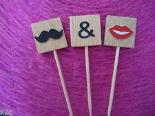 Wooden Scrabble letters Moustache & Lips Cake Wedding Cake Topper Engagement DIY
