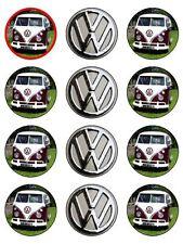 "12 x VW Burgundy Rasberry Campervan 2"" PRE-CUT Edible CupCake / Cake Toppers"