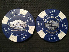 """Harley Poker Chip  (Blue & White)  """"The Trail of Honor"""" H-D of Jackson, Miss."""