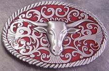 Pewter Belt Buckle animal Longhorn Steer Head red NEW