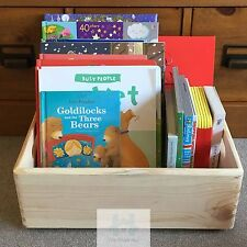 Stackable Wooden box Toy crate handles plain natural pine wood 40x30x14cm SN140