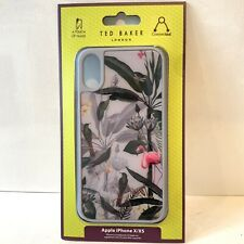 Ted Baker IPhone X XS Glass Grey Tropical WIINI Print NEW Back Case Cover