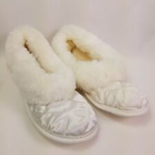 Vintage Quilted Slippers House Shoes plush Faux Fur Womens Size 10 USA