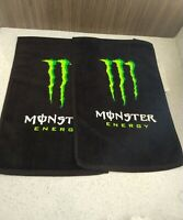 Monster energy towels 16x12 skateboards color black xtreme sports lot of 2