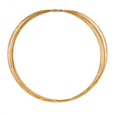 """18 KT Yellow Gold 14 Strand Gold Cable Wire Necklace Bayonet Clasp NEW 16"""""""