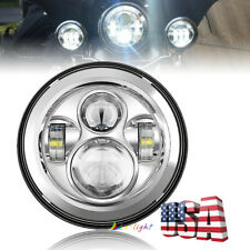 Chrome 7 Inch Round Led Headlight Hi/Lo Beam Projector Lamp for Jeep Motorcycle