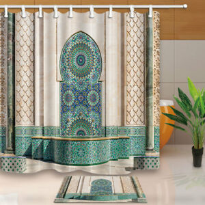 Casablance Morocco Mosque Waterproof Shower Curtain 12 Plastic Hooks 71inch