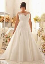 2017 Plus Size White/Ivory Lace Wedding Dress Bridal Gown Custom Size 14--26Wgh