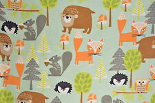 Bears, Squirrels and Porcupines Flannelette Fabric 108cm Wide (per metre)