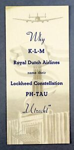KLM ROYAL DUTCH AIRLINES LOCKHEED CONSTELLATION PH-TAU NAMING AIRLINE BROCHURE