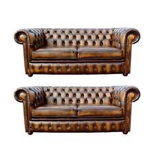 Chesterfield Design Luxus Polster Sofa Couch Sitz Garnitur Leder Textil Neu #165
