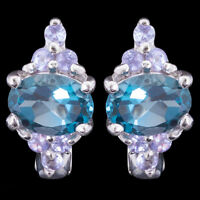 100% NATURAL 7X5MM LONDON BLUE TOPAZ & TANZANITE STERLING SILVER 925 EARRING