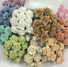 50 Soft Tone Mixed Paper Flower Rose DIY Wedding bouquet Scrapbook Craft ZR3-426