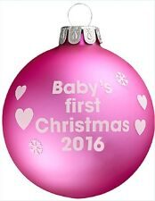 Baby's First Christmas 2016 - Pink Christmas Tree Bauble - 1st Xmas Gift