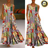 Summer Womens Boho Vintage Floral Sleeveless Kaftan Long Maxi Dress Plus Size