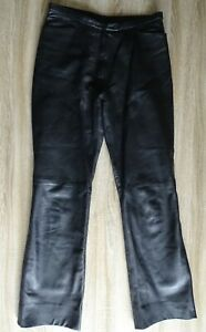 RED HERRING women's black genuine real leather trousers size 12
