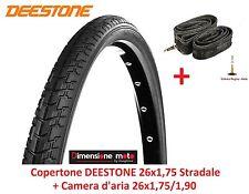 "Copertone Deestone 26x1 75 Nero stradale Camera per bici 26"" MTB Mountain Bike"