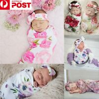 Flower Newborn Baby Girl Swaddle Wrap Blanket Sleeping Bag+Headband Set
