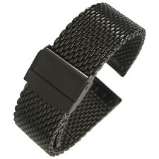 22mm Eulit Stalux Milanese Mesh PVD Black Steel German-Made Watch Band Bracelet