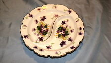 VINTAGE DIVIDED CHINA CANDY DISH WITH VIOLETS NORCREST NUMBERED
