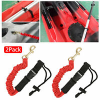 2pcs Elastic Paddle Fishing Leash Safety Rod Coiled Lanyard For kayak Canoe Oar