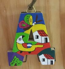 La Palma Folk Art from El Salvador Letter A Handcrafted on Recycled Wood