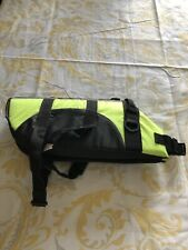 Dog Life Vest Jacket Floatation Device Black Green/yellow Size Small