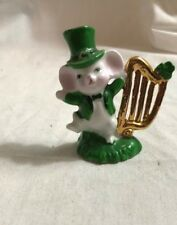 """Schmid Miniature 2-1/4"""" St. Patricks Mouse with Gold painted Harp"""