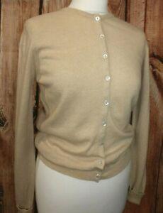 Braemer 100% Cashmere Ladies Cardigan Sweater Knitwear Button Up UK 12 Beige